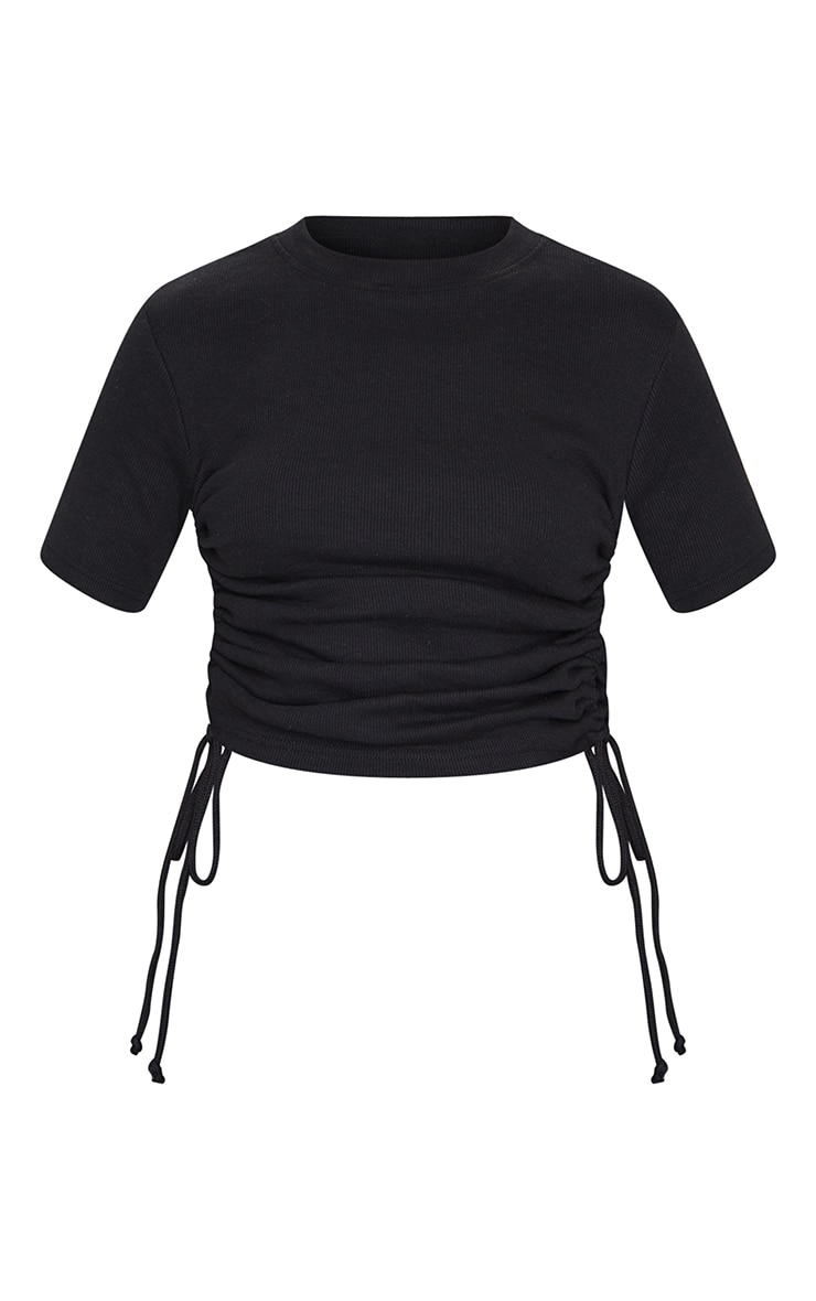 Black Structured Rib Ruched Side Short Sleeve Top 5