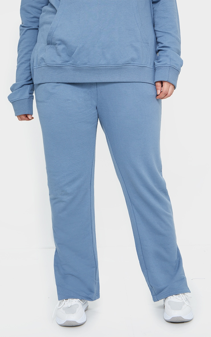 Plus Dusty Blue Split Hem Joggers 2