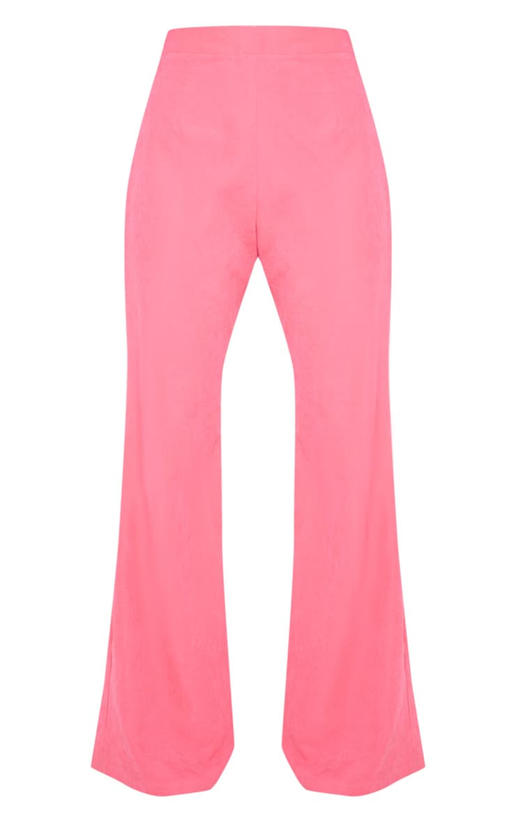 Hot Pink Faux Suede Wide Leg Trouser 3