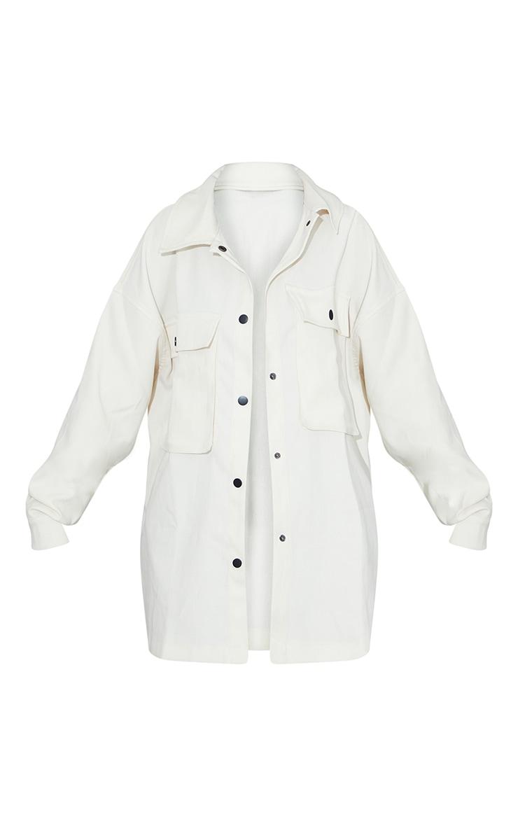 Cream Twill Pocket Detail Oversized Boxy Shirt 5