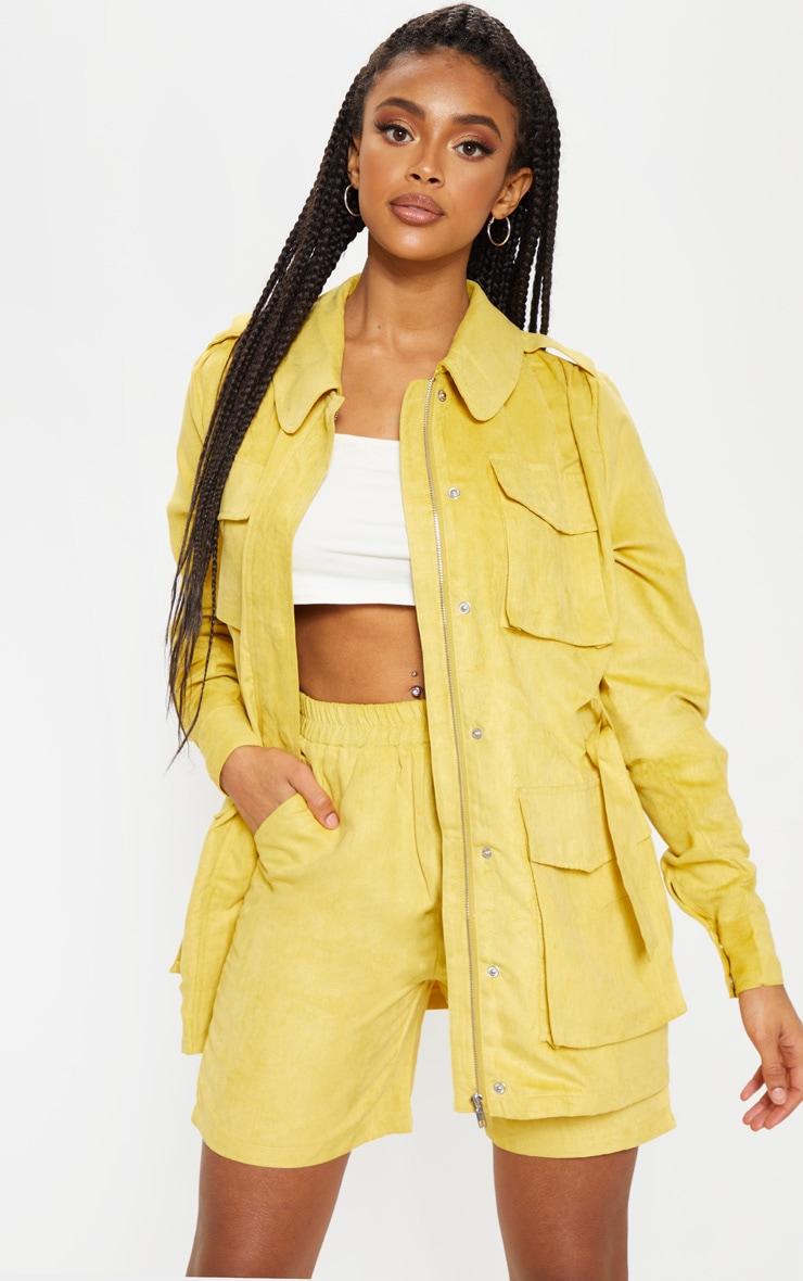 Mustard Faux Suede Pocket Detail Jacket  1