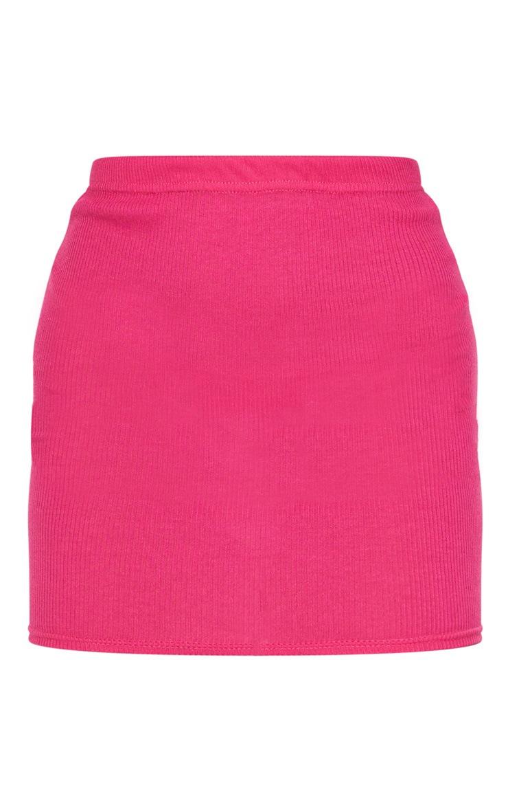 Hot Pink Ribbed Mini Skirt 6