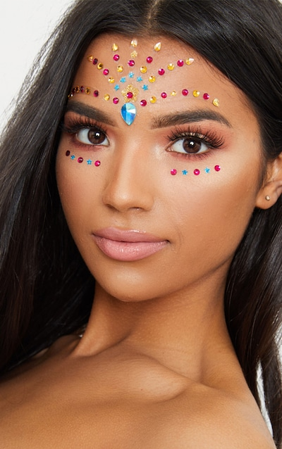 PRETTYLITTLETHING Gold Rainbow Pride Festival Face Jewels