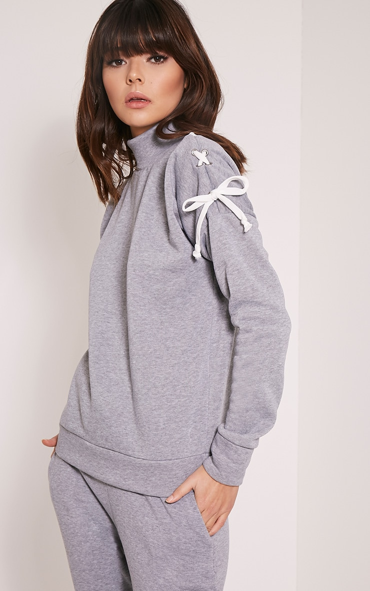 Maddison Grey Lace Up Sleeve Tracksuit Sweatshirt 1