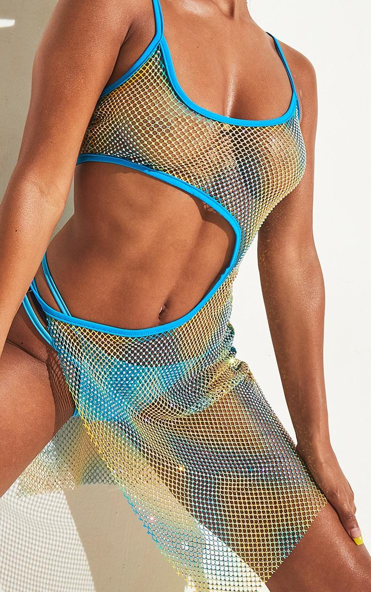 Turquoise Diamante Cut Out Beach Dress 5