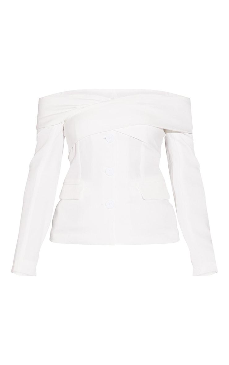 White Off The Shoulder Bardot Blazer 5