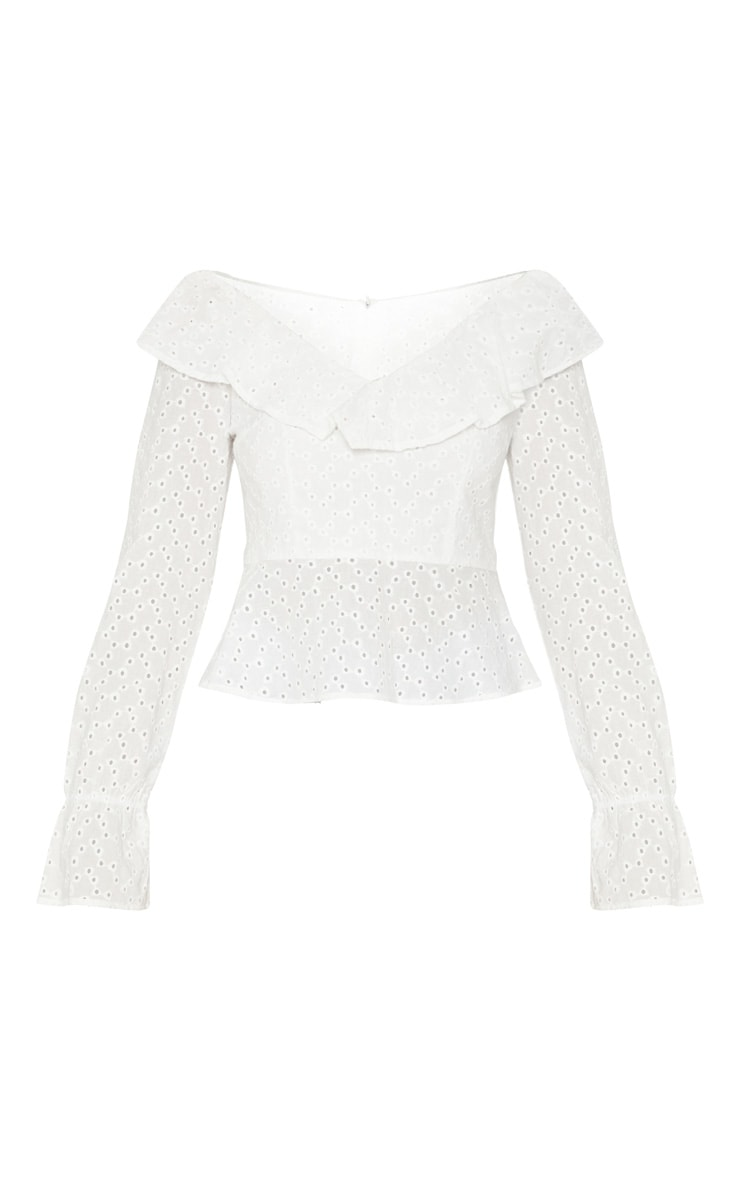 White Broderie Anglaise Frill Detail Blouse 3