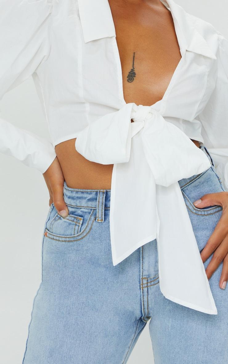 Petite White Bow Detail Blouse 4