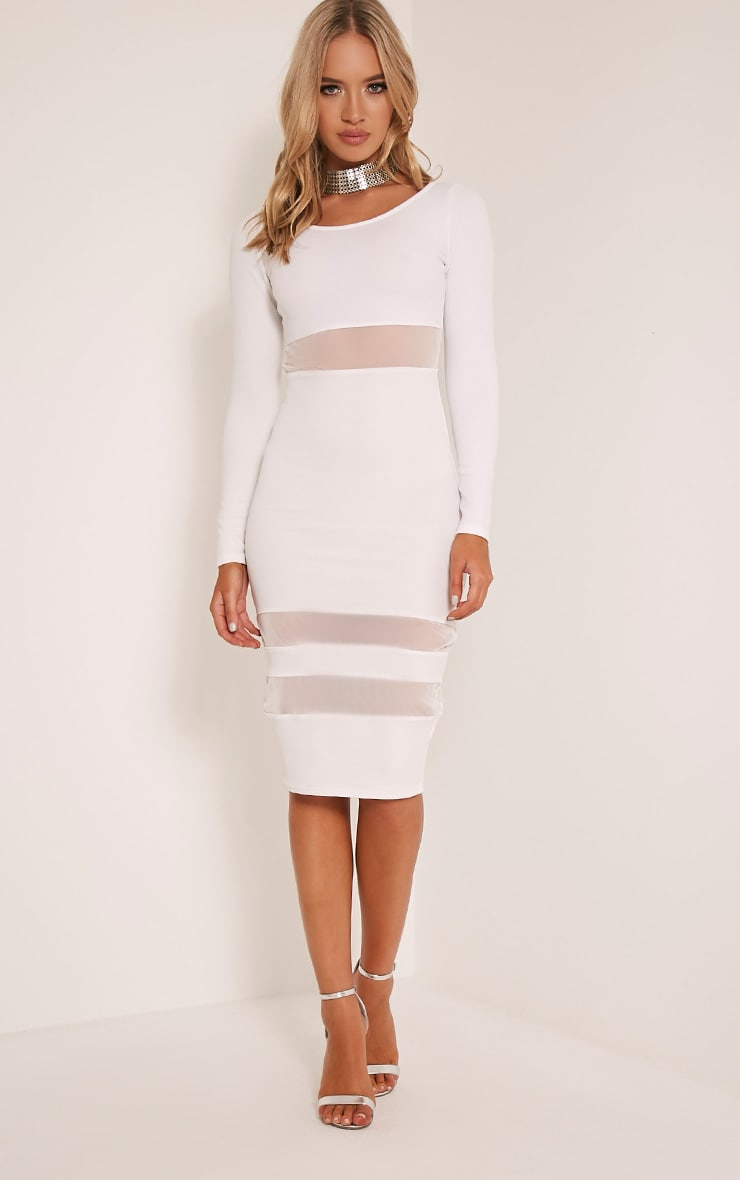Kaycee White Long Sleeve Mesh Panel Midi Dress 1