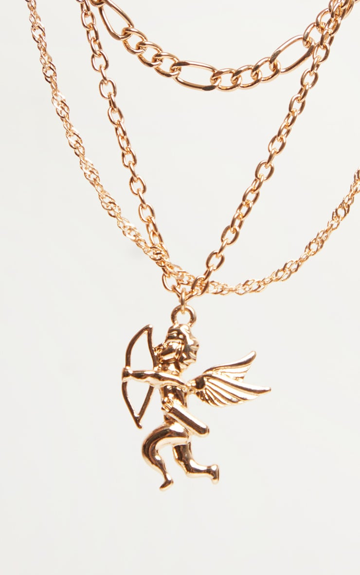 Gold Vintage Multi Chain And Cherub Layering Necklace 5