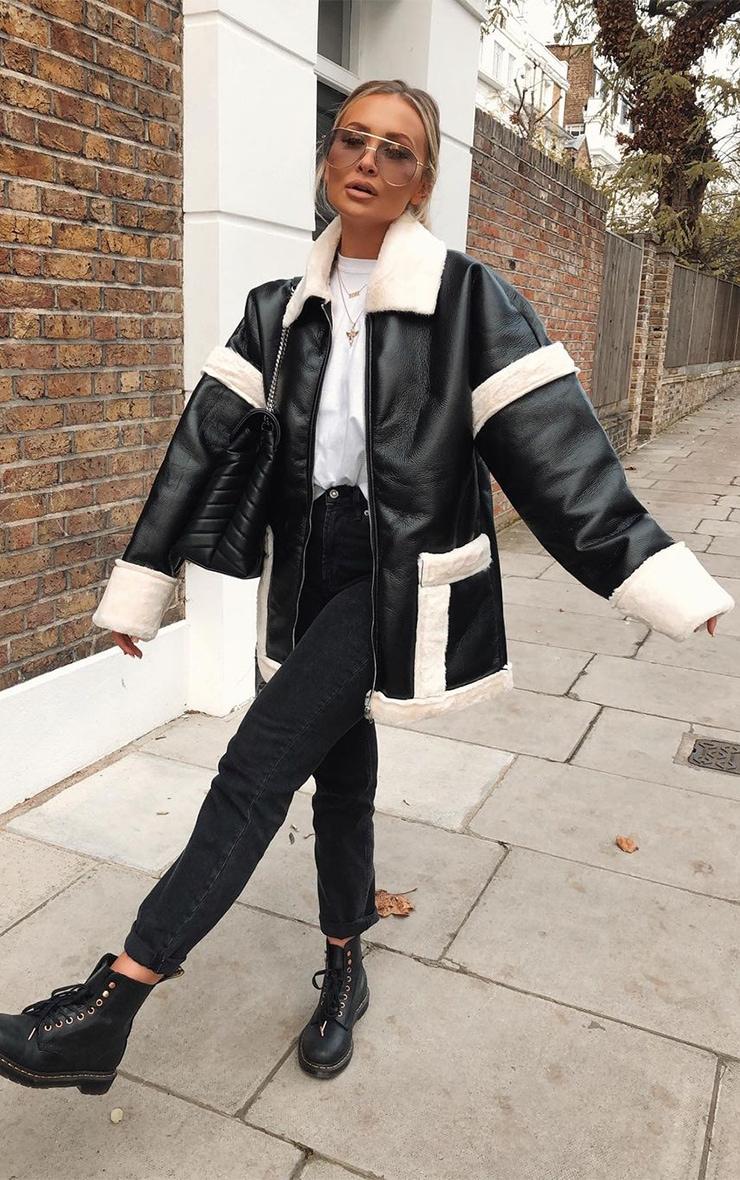 Black Faux Fur Trim Oversized Jacket 1