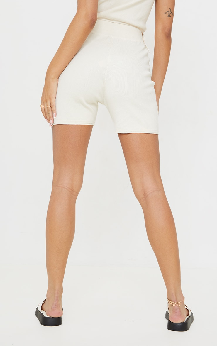 Cream Knitted Longline Tie Waist Shorts 3