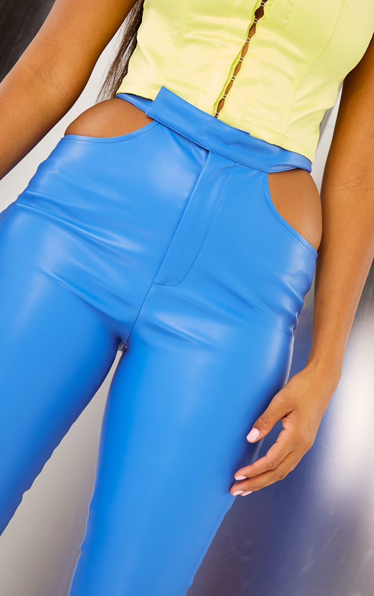 Bright Blue Faux Leather Cut Out Detail Skinny Trousers 4
