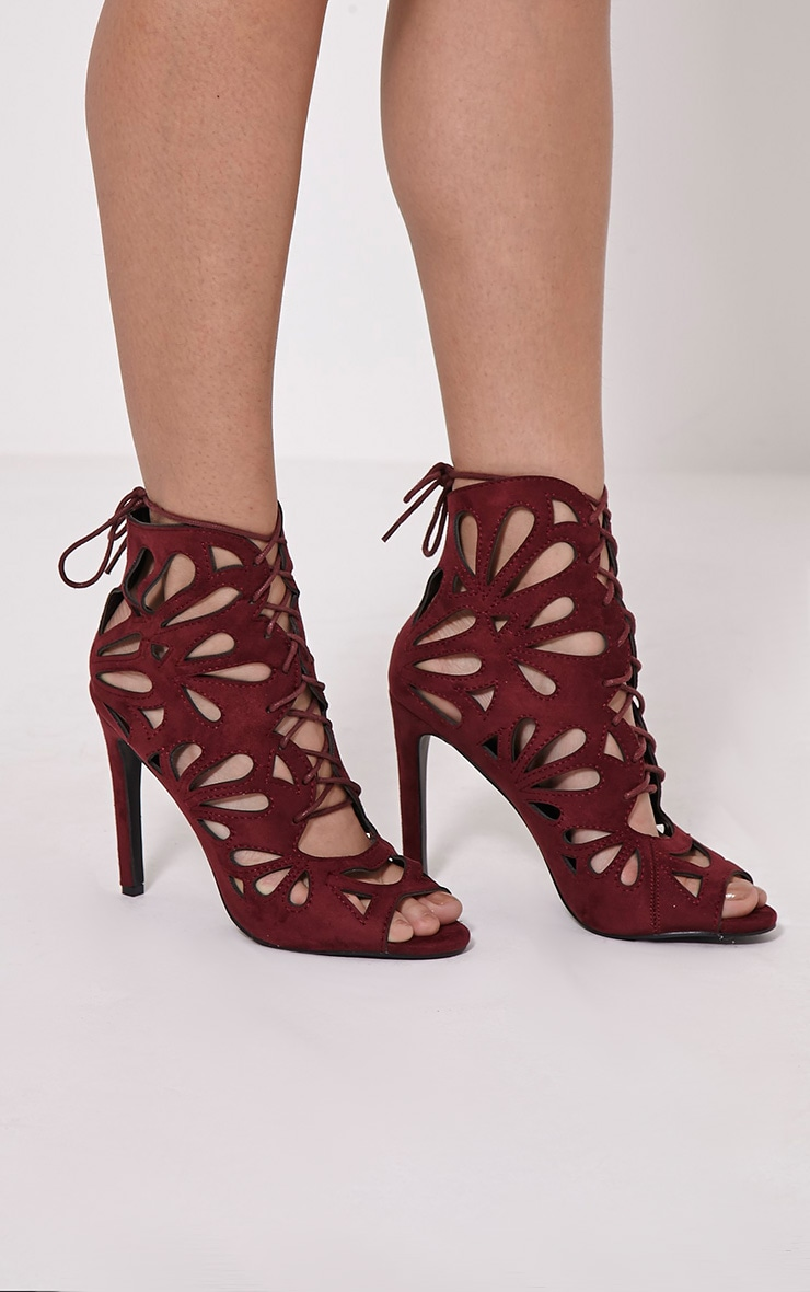 Jodey Burgundy Cut Out Lace Up Heels 1