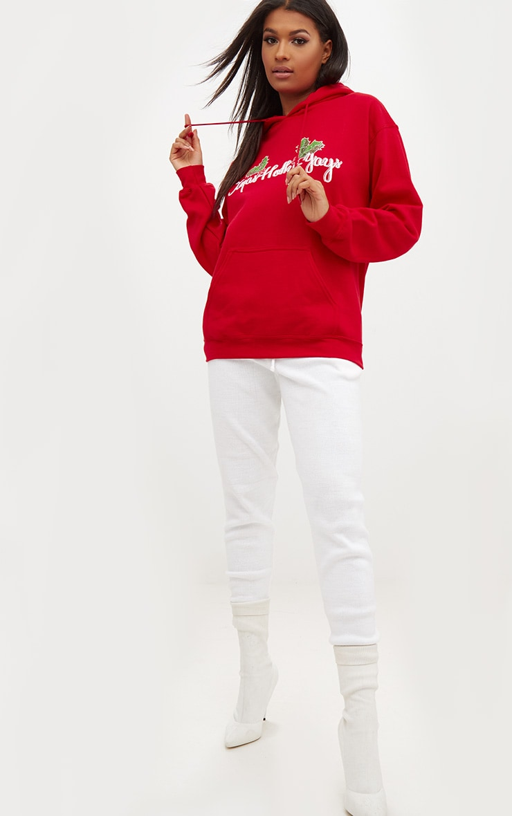 Red Happy Holly Yays Christmas Slogan Hoodie 4