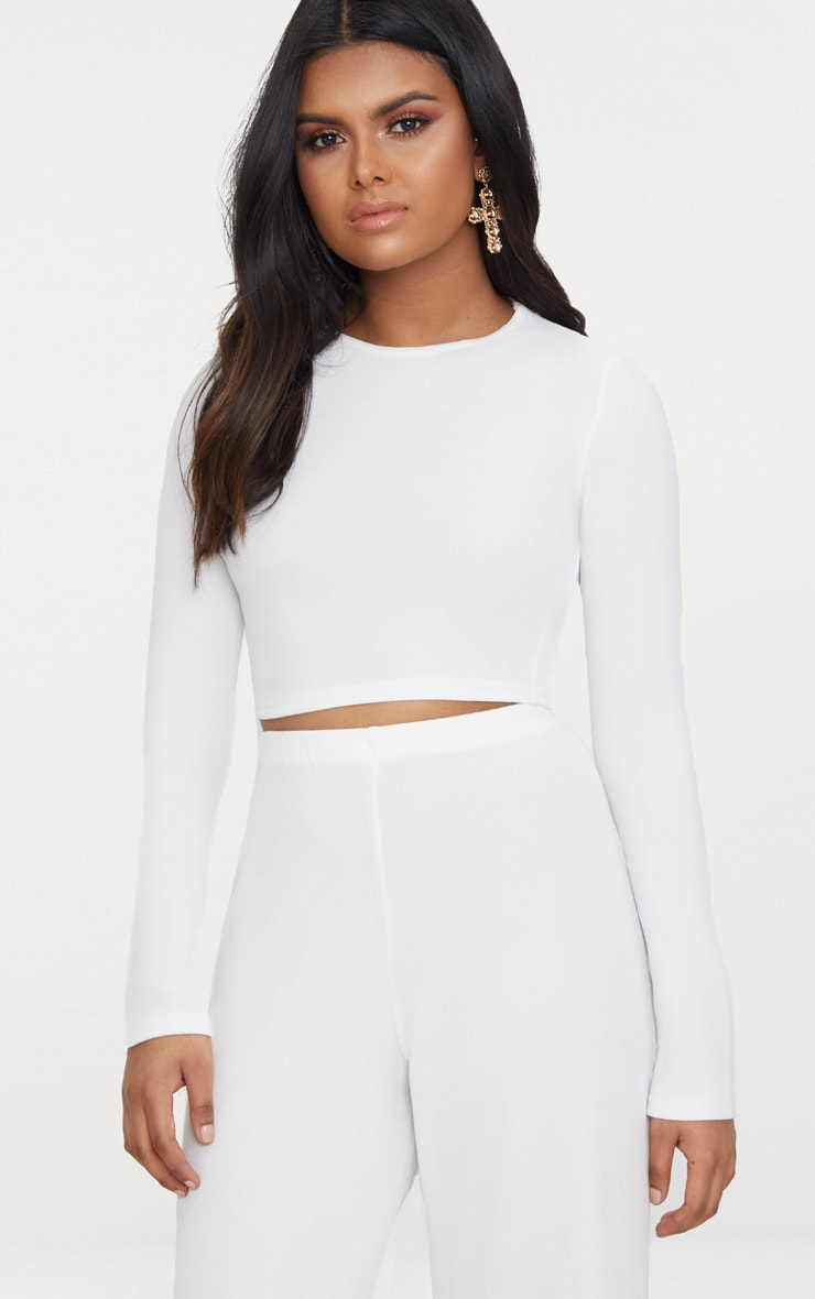 Petite White Lace Up Back Long Sleeve Crop Top  2