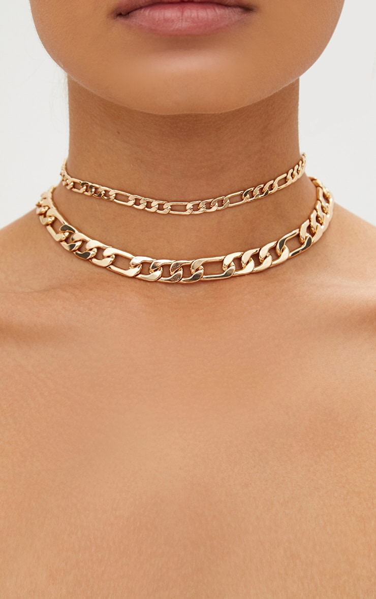 Gold Double Layer Chunky Link Choker 1