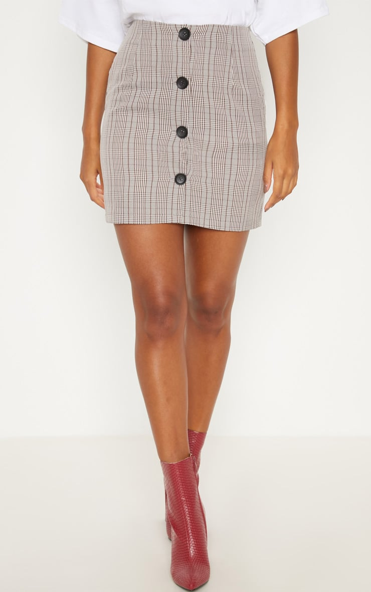 Brown Check Button Up High Waisted Skirt 2
