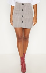 d412eff0fe4e6 Brown Check Button Up High Waisted Skirt image 2