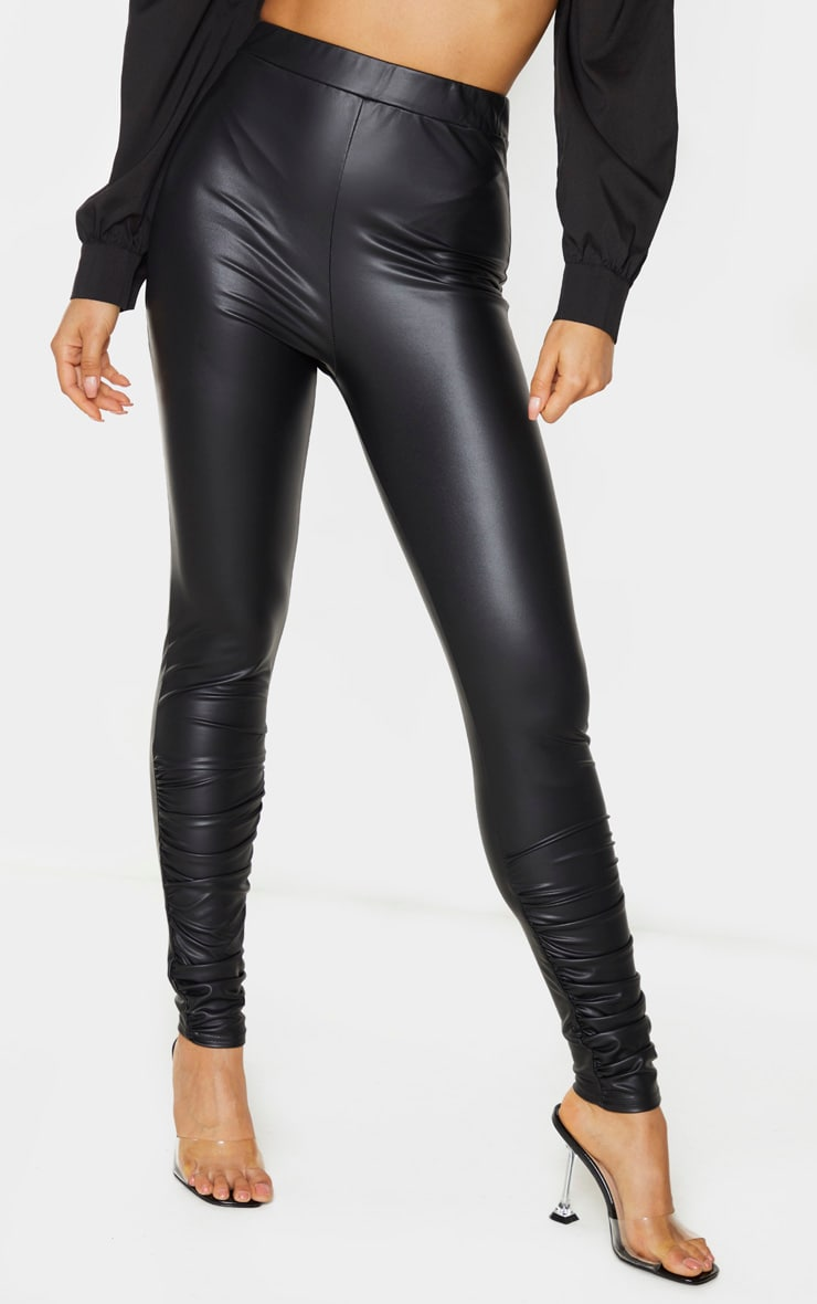 Tall Black Coated PU Ruched Ankle Leggings 2