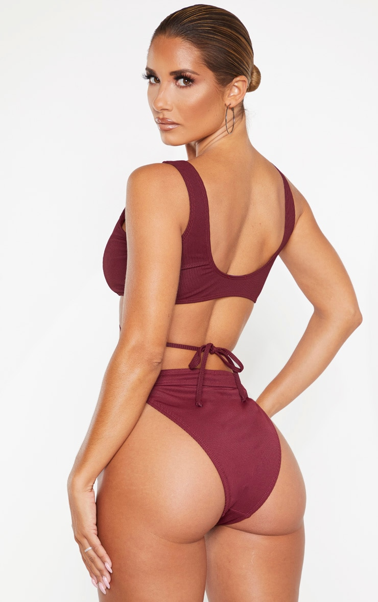Burgundy Ribbed Tie Front Plunge Bikini Top 2
