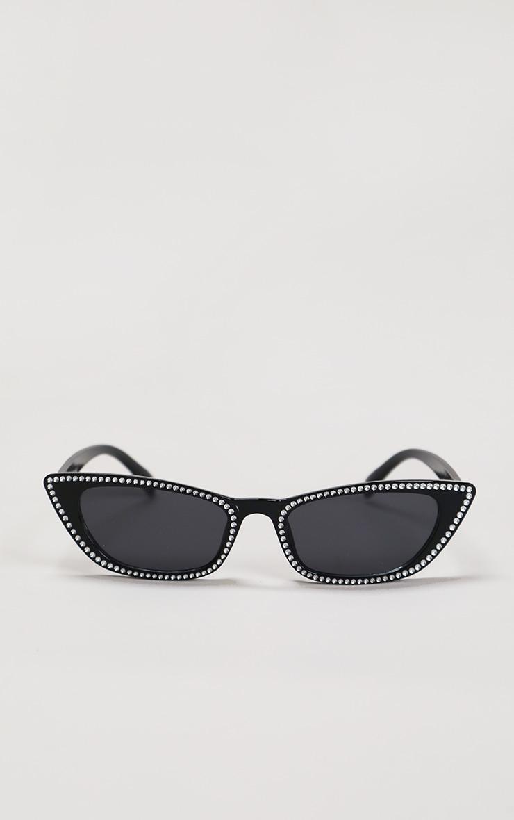 Black Diamante Trim Cat Eye Sunglasses 2