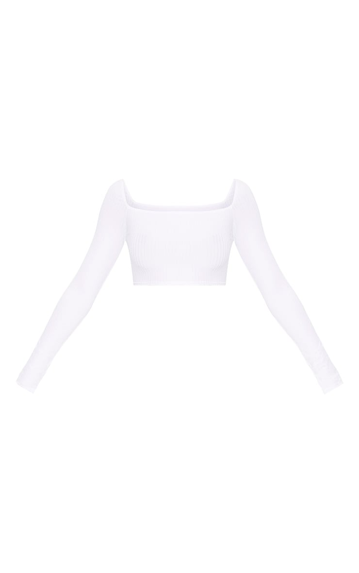 White Ribbed Square Neckline Longsleeve Top 3