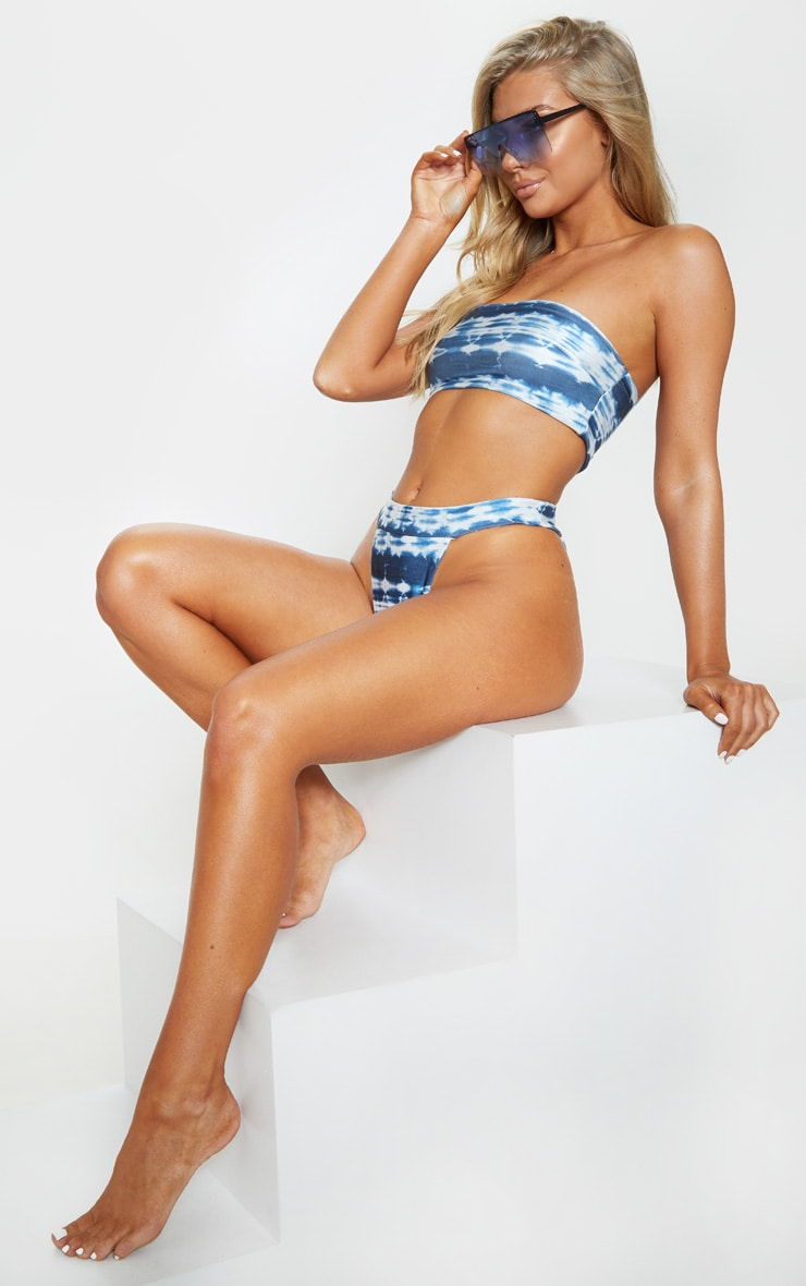 Blue Tie Dye Bandeau Bikini Top 3