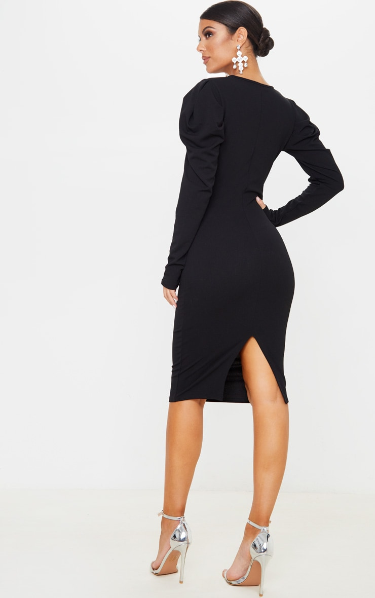 Black Pleated Wrap Long Sleeve Midi Dress 2