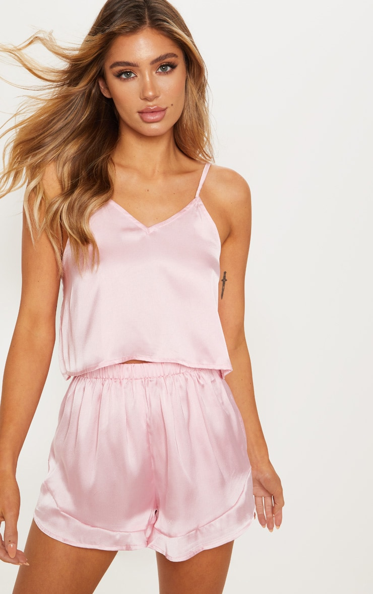 Pink Satin Frill Cami Short PJ Set 4