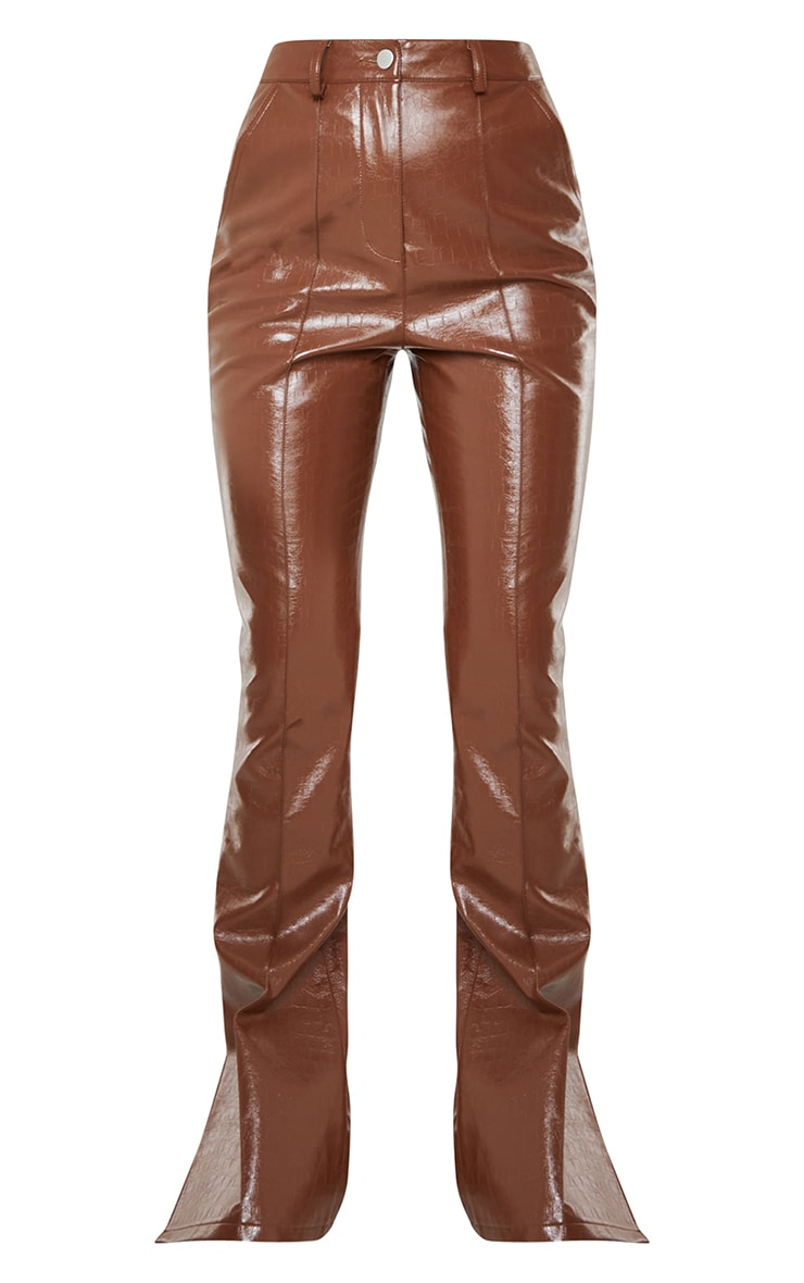 Chocolate Croc Faux leather Flared Trousers 5