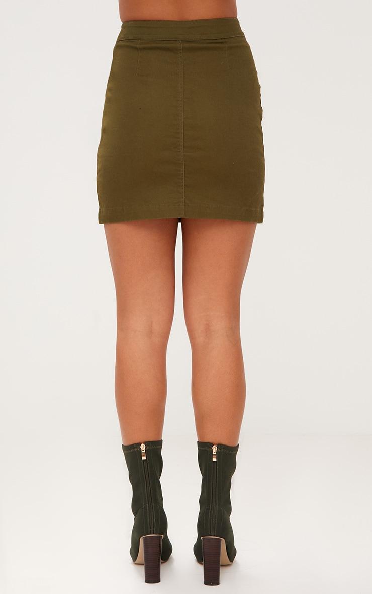 Khaki Denim Button Down Mini Skirt 4