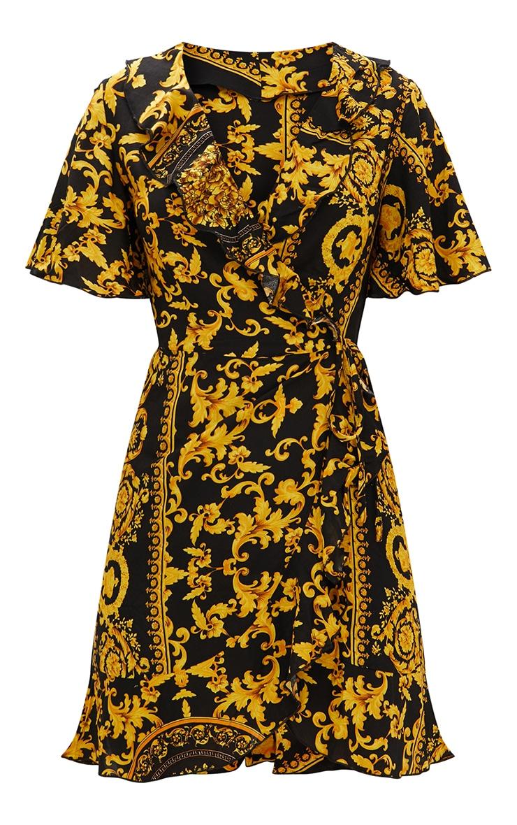Black Chain Print Wrap Dress  3