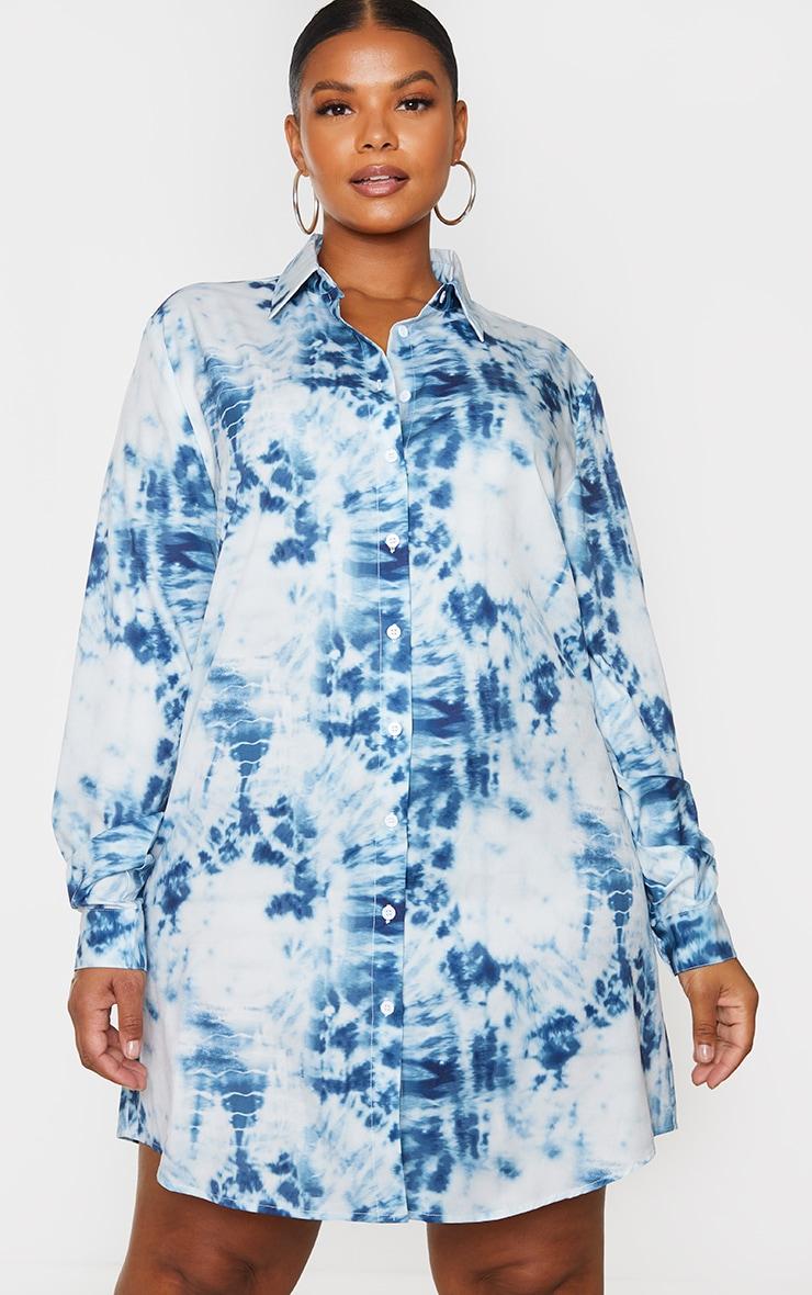 Plus Dusty Blue Tie Dye Oversized Shirt Dress 3