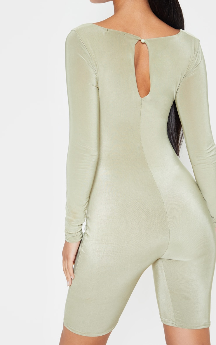 Sage Khaki Cut Out Long Sleeve Unitard 5