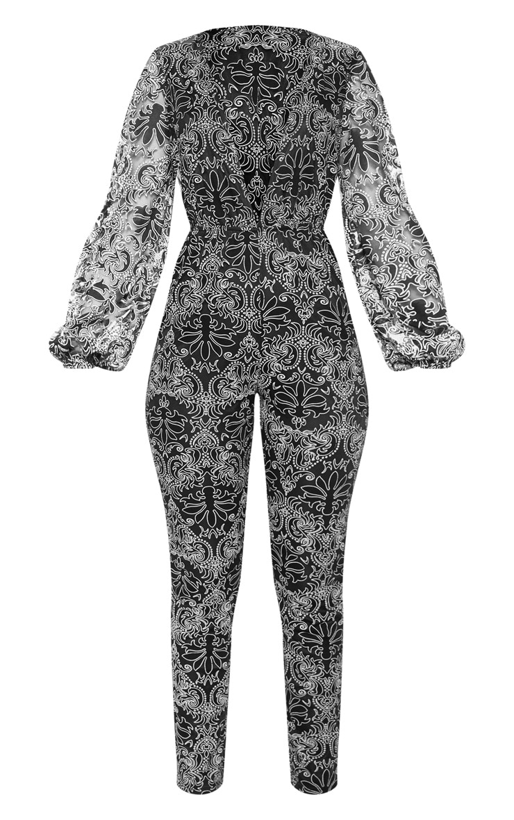 Black Sheer Paisley Long Sleeve Jumpsuit 4