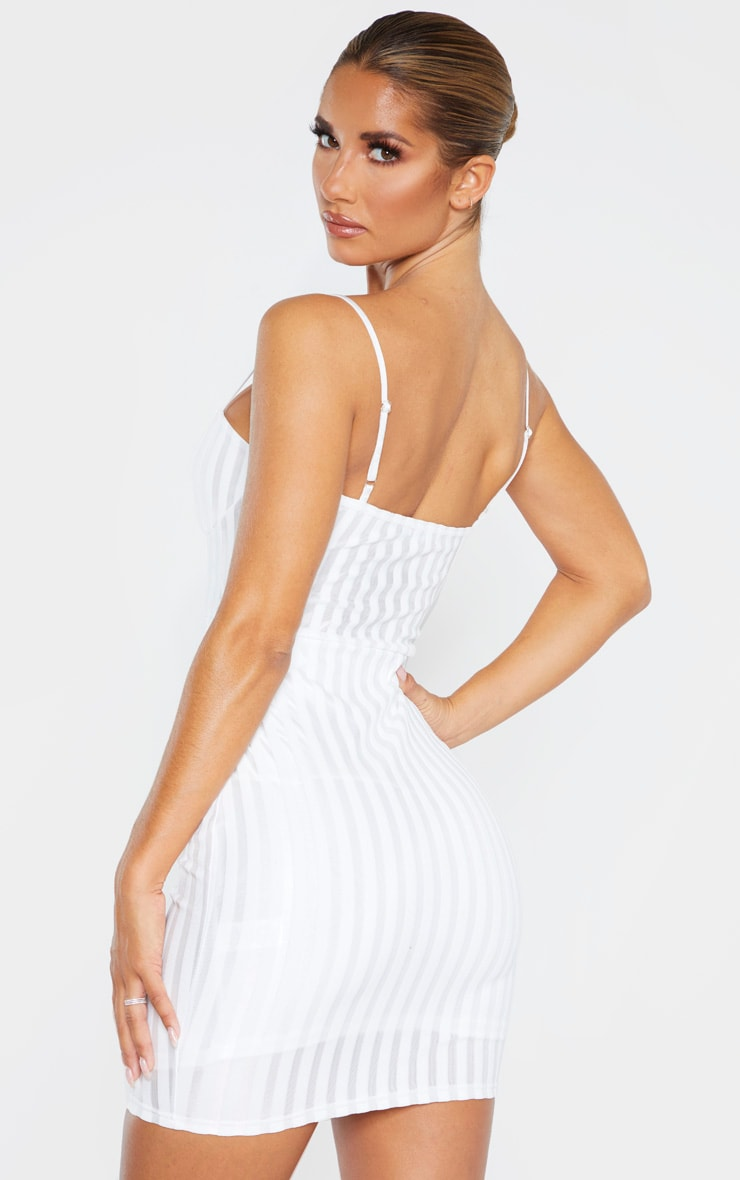 White Strappy Cup Detail Striped Bodycon Dress 2