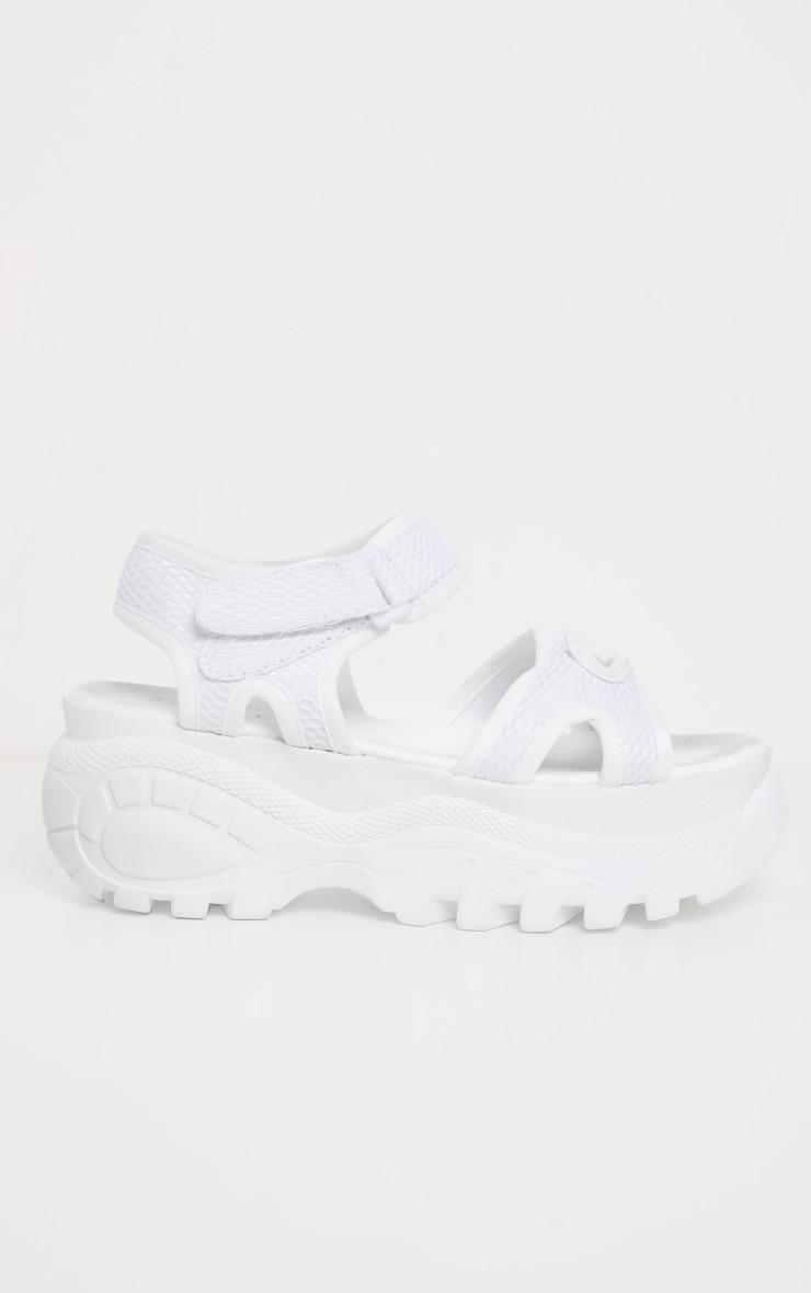 White Sporty Chunky Flatform Sandal  4