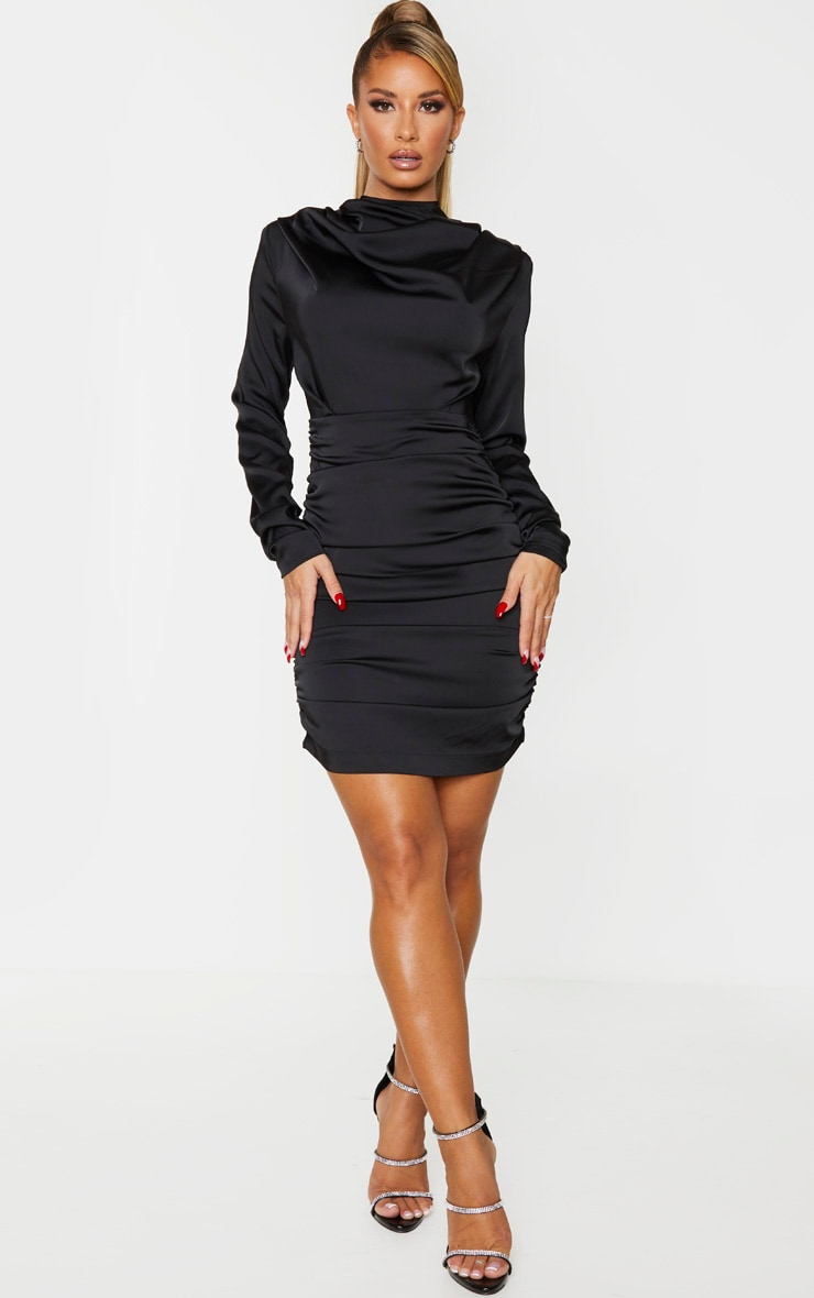 Black Ruched Detail Long Sleeve Bodycon Dress 3
