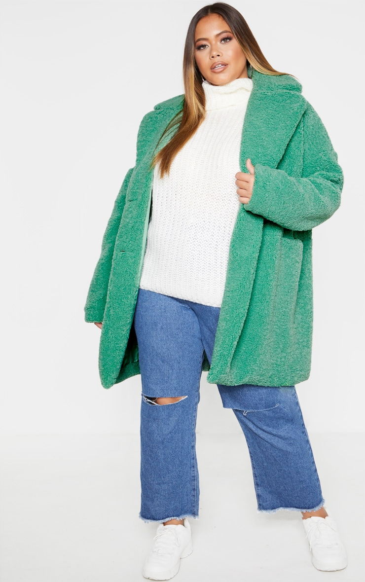 Plus Sage Green Midi Teddy Borg Coat  4