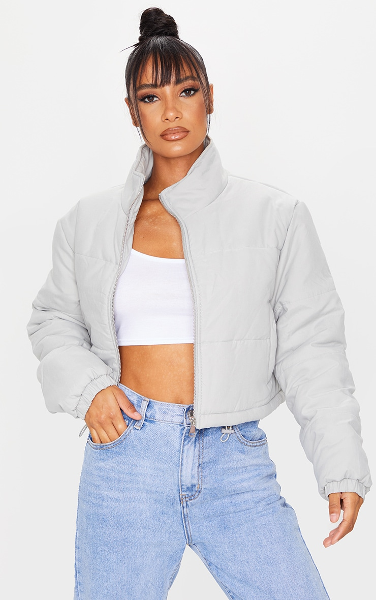 Grey Super Cropped Peach Skin Puffer 1