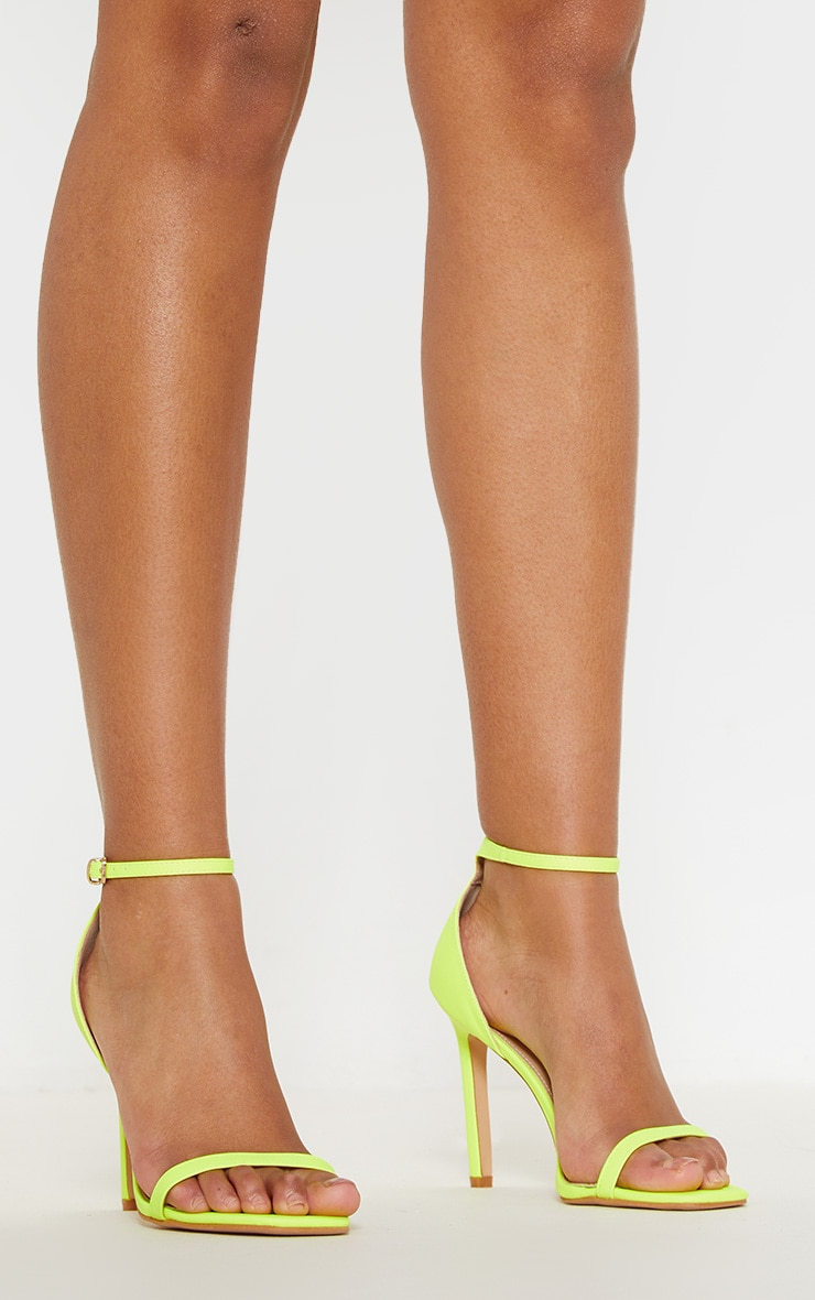 Neon Lime Thin Strap Square Toe Strappy Sandal 1