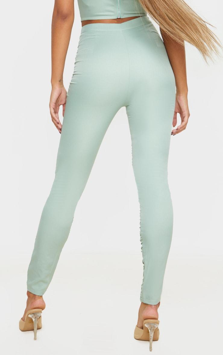 Sage Khaki Woven High Waist Ruffle Seam Front Skinny Trouser 3