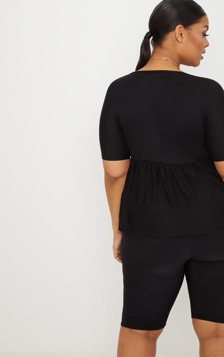 Plus Black Frill Hem T Shirt 2