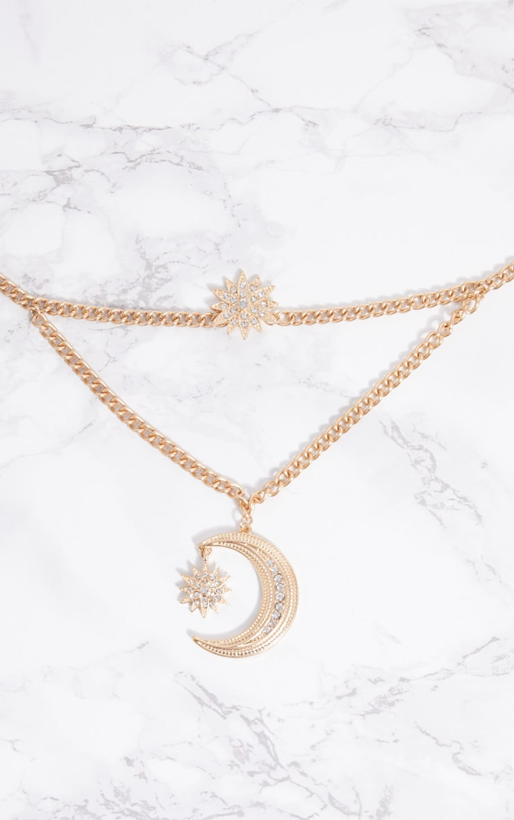 Gold Moon Star Chunky Layered Necklace 3