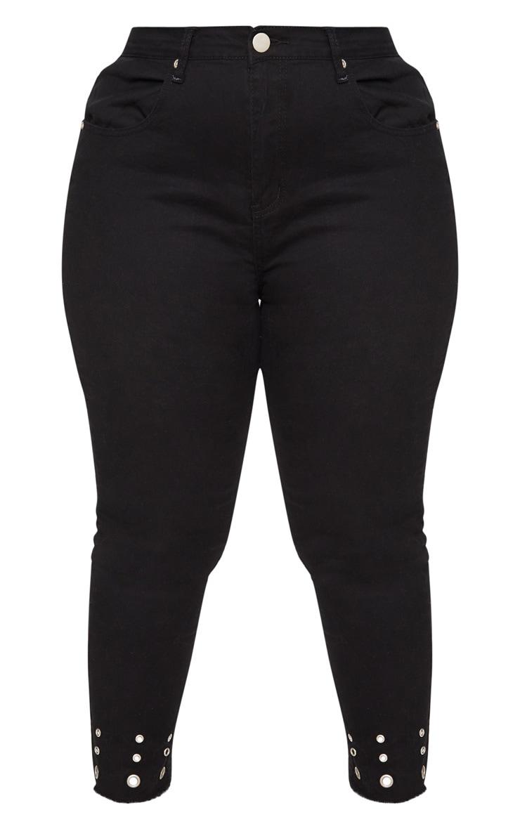 Plus Black Eyelet Hem 5 Pocket Skinny Jean 3
