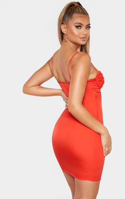 Red Ruched Bust Under Wired Bodycon Dress