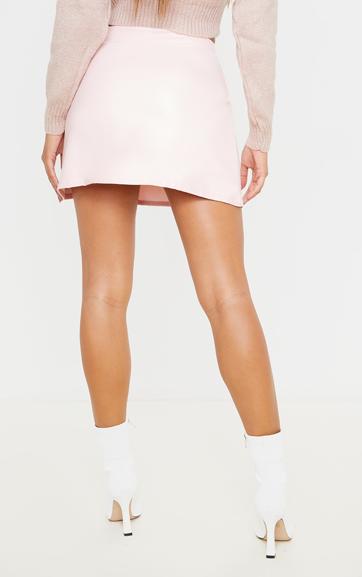 Rose Pink Faux Leather A Line Skirt 4