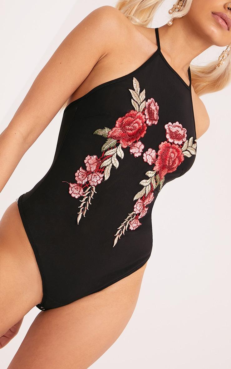 Stefany Black Embroidered Applique Mesh Thong Bodysuit 6