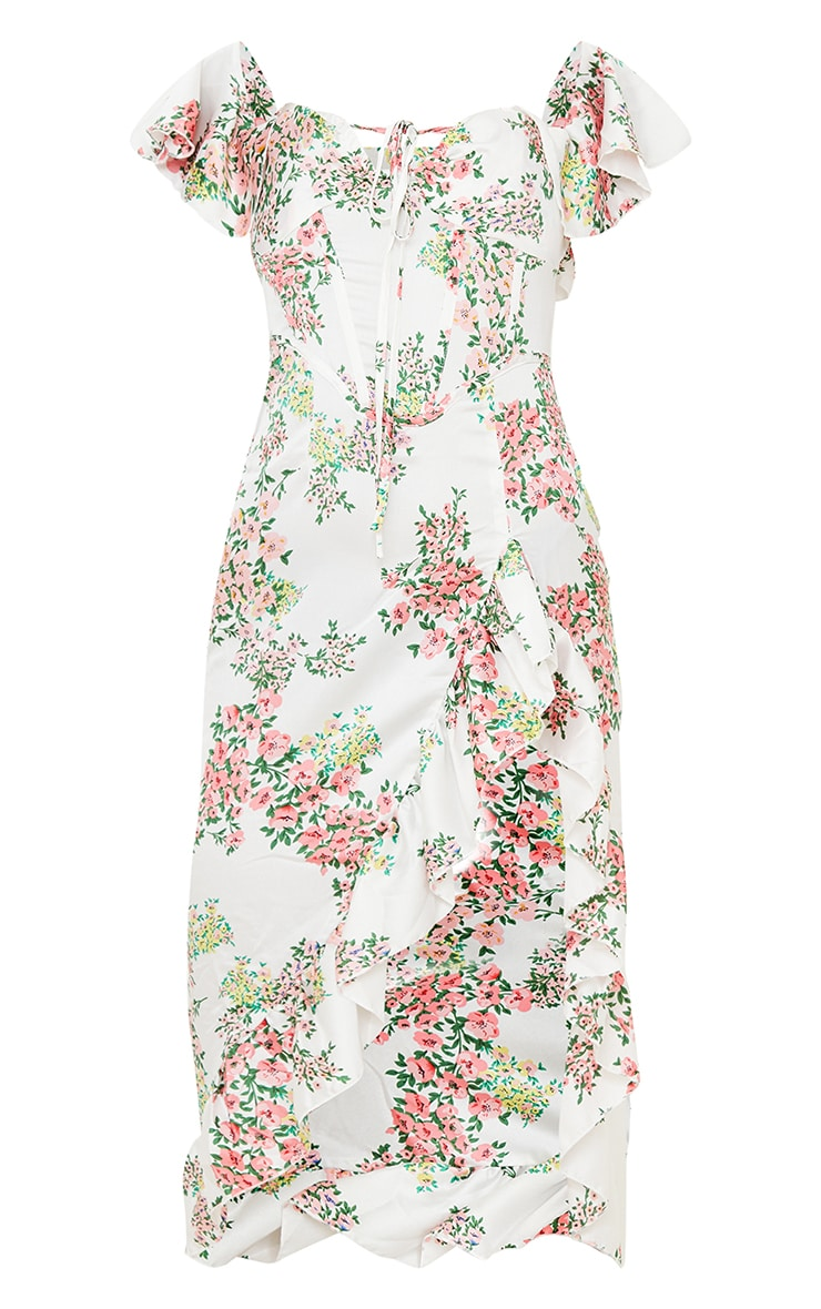 White Floral Satin Corset Frill Hem Midi Dress 5